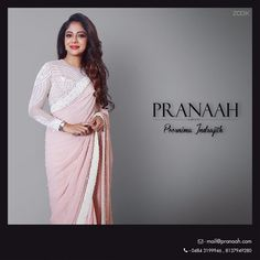 Love this 'Pranaah' soft pastel pink sari/blouse by Poornima Indrajith