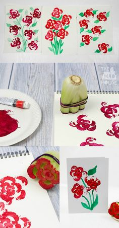 Printing Flowers with Celery Stalks. Vegetable printing is such a cool art activity to do with kids and who knew that celery prints looked like roses! Preschool Crafts, Crafts For Kids, Arts And Crafts, Arte Elemental, Vegetable Prints, Mothers Day Crafts, Summer Crafts, Elementary Art, Art Activities