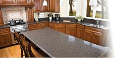 Mined natural quartz is one of the hardest minerals found in nature, making Quartz counter tops extremely durable and long lasting. Love these counters. Kitchen Benchtops, Kitchen Cabinets, Tile Showroom, Long Island Ny, Kitchen And Bath Design, Inspiration Boards, Quartz Countertops, Inspired Homes, Landscape Design
