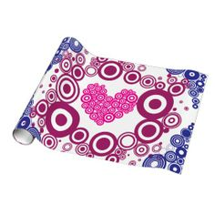 Pretty Heart Concentric Circles Girly Teen Design Wrapping Paper