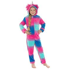 Become a magical unicorn in an instant with this beautiful multicoloured onesie. With a front zip, this super soft 100% polyester onesie is perfect for cosying up in the colder months.