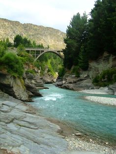 Shotover River, Queenstown, New Zealand South Island. Bridge. River. Jetboat. Landscape. Scenery - Livpics