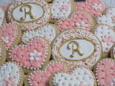 Wedding Hearts and Initials Decorated Sugar Cookies by MartaIngros, $18.00