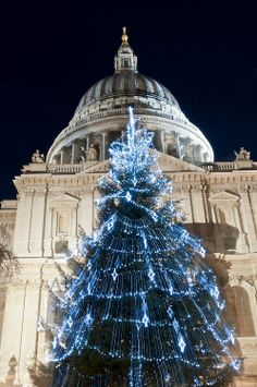 Paul's Cathedral at night with Blue Christmas Tree lights. Christmas In The City, London Christmas, Blue Christmas, Christmas And New Year, All Things Christmas, Christmas Time, Christmas Light Displays, Christmas Tree Decorations, Winter Holidays