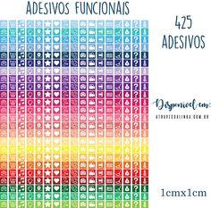 Adesivos funcionais - planner stickers - color stickers -