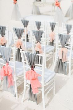 Wedding inspiration: Coral and gray ceremony chairs