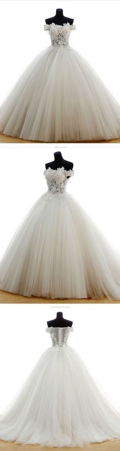 White off shoulder lace applique tulle long prom dress, wedding dress, bridal gown