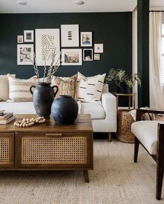 Photo shared by Juniper Print Shop on April 2020 tagging and Image may contain: people sitting, table, living room and indoor via Home Living Room, Living Room Designs, Living Room Decor, Living Spaces, Home Design, Dark Accent Walls, Living Room Inspiration, Home Interior, Interiores Design