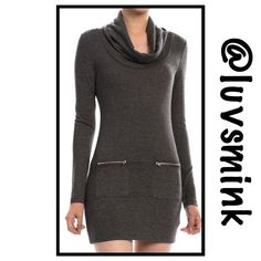 ZIPPERED BODYCON DRESS IN CHARCOAL GREY - SMALL What could be more chic than a BODYCON dress with zippered pockets, soft knit fabric, and a draped neckline??  Nothing, other than a matching dress in Burgundy !!  Form fitting to wear with your favorite leggings or tights, thigh boots, or booties.  A blend of Poly, Rayon, and Spandex ; 32 inches in length.  NO HOLD OR TRADES;  PRICE IS FIRM, UNLESS BUNDLED.  COLOR IS CHARCOAL GREY. This listing is for a size SMALL. Double Zero Dresses