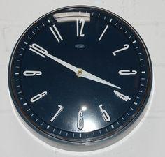 Vintage Retro 1970s Metamec Blue White Kitchen Wall Clock Battery Movement FWO