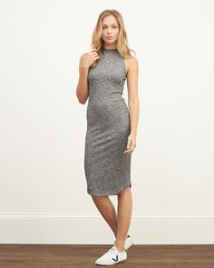 Womens Mock Neck Bodycon Midi Dress | Lightweight and comfortable with a slim bodycon fit, subtle ribbed texture and mock neckline | Abercrombie.com