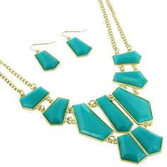 """$9.95 18"""" Turquoise Geometric Bubble Necklace and Earring Set"""