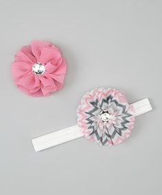 Take a look at this Pink & White Zigzag Headband & Chiffon Flower Clip Set on zulily today!