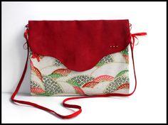 """Sac réversible """"Nouchka"""" rouge et tissu japonisant"""