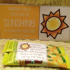 Missionary sunshine package :) I like these, except he sort of gets enough sunshine where he is, I don't know if he'd want more lol...