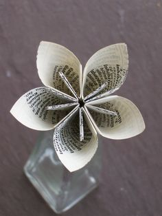 Eco Friendly Paper Flower - Sample - Book Text - Origami - Bridal