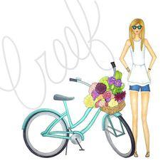 Farmers market haul #sundayfunday #sundaymorning #fashionillustration #dc #freshcut #sunnies #bikesandbabes #illustration #summertime #creeforiginals
