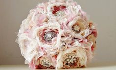 Wedding Brooch Flower Bouquet made from layers of lace and fabric. So pretty in pink with the sparkly brooch centres really adding a nice texture!