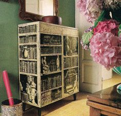 The Guest Room at Villa Fornasetti with 1953 cabinet decorated with Piero Fornasetti's ideal of classical antiquities and books arranged on shelves via The Devoted Classicist (blogspot)
