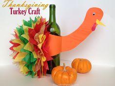 Easy Wine Bottle Turkey Craft Idea – { Thanksgiving Centerpiece }