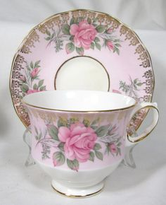Queen Anne Tea Cup Saucer with Pink Roses Gold Gilded (This is gorgeous!!!)