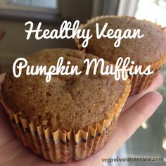 Gear up for fall with this simple, delicious, and healthy recipe for vegan pumpkin muffins! via @VBReview #sugarfree #oilfree #vegan