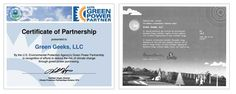 GreenGeeks' Green Certificate