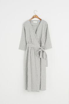 Gingham Check Long Wrap Dress