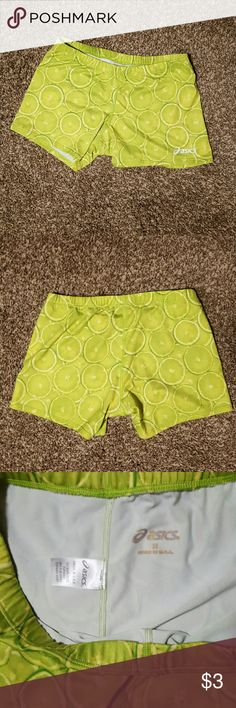 Asics Lime bike shorts Size Medium although small and short. Lime green with limes Asics Shorts