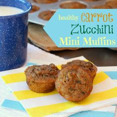 Healthy Carrot Zucchini Mini Muffins - Sweet, moist, and bite-sized little muffins filled with whole-grains and vegetables, but not a lot of… Mini Muffins, Healthy Snacks For Kids, Healthy Treats, Healthy Recipes, Kid Snacks, Healthy Breakfasts, Baby Food Recipes, Cooking Recipes, Muffin Recipes