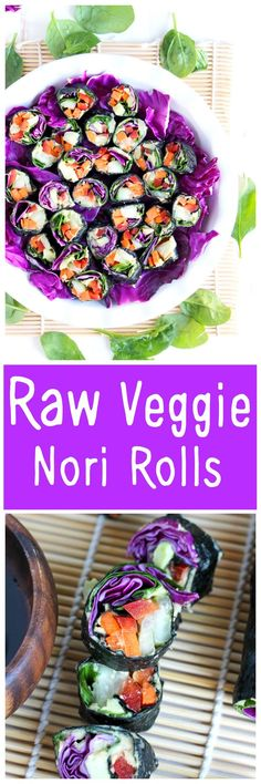 Healthy sushi rolls made with an array a raw veggies so you can eat the rainbow! http://NeuroticMommy.com #raw #vegan #healthy