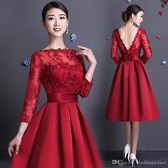 Knee length Lace Bridesmaid dresses Full long sleeve A line Satin Women Party gowns for Wedding Custom Cheap Beauty Girls dress Elegant Dresses, Pretty Dresses, Beautiful Dresses, Gorgeous Dress, Vestidos Vintage, Vintage Dresses, Lace Bridesmaid Dresses, Prom Dresses, Formal Dresses