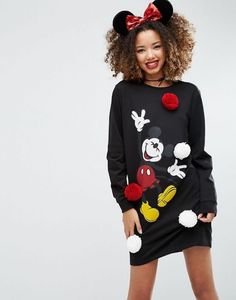 Shop ASOS Christmas Dress with Disney Pom Poms. With a variety of delivery, payment and return options available, shopping with ASOS is easy and secure. Shop with ASOS today. Disneyland Outfits, Disney Outfits, Disney Clothes, Cute Disney, Disney Style, Disney Disney, 90s Fashion, Fashion Online, Disney Fashion