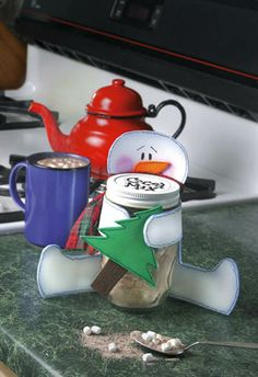 snowman cocoa holder with free pattern