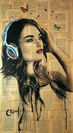 Original Music Painting by Darren Crowley Music Painting, Air Brush Painting, Music Artwork, Ink Painting, Girl With Headphones, Newspaper Art, Paper Butterflies, Music Wallpaper, Digital Art Girl