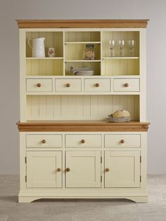 Country Cottage Natural Oak and Painted Large Dresser - Image 4 Furniture, Oak Furniture, Painted Furniture, Oak Furniture Land, Cabinet, Small Dresser, Large Dresser, Solid Wood Furniture, Dining Room Furniture