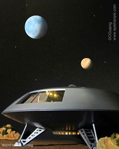 Scale model of the Jupiter 2 spacecraft, from the Irwin Allen TV series LOST IN SPACE.