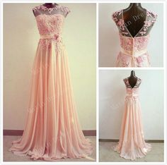 Custom Made Light Coral Round Neckline Floor Length Prom Dresses, Bridesmaid Dresses, Prom Dresses with Lace Flower, Formal Dresses