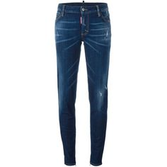 Dsquared2 'Medium Waist Skinny' jeans (£285) ❤ liked on Polyvore featuring jeans, blue, destroyed jeans, torn jeans, distressed skinny jeans, bleached ripped skinny jeans and button-fly jeans