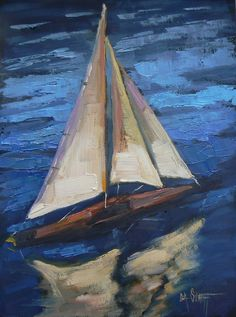Original Oil Daily Painting 6x8 Toy Sailboat by CarolSchiffStudio, $79.95