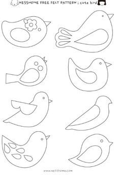 Embroidery Patterns Birds Felt Ornaments Ideas For 2020 Bird Patterns, Applique Patterns, Felt Crafts Patterns, Applique Templates Free, Felt Patterns Free, Felt Ornaments Patterns, Felt Templates, Animal Patterns, Pattern Ideas