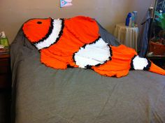 Nemo animal shaped clown fish rag fleece quilted by lindseva, $35.00