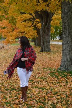 White jeans in fall - plaid cape
