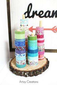 Ideas for diy bracelets easy washi tape - diy projects Washi Tape Storage, Washi Tape Crafts, Diy Crafts, Washi Tapes, Diy Washi Tape Holder, Craft Room Storage, Craft Organization, Organizing Tips, Scrapbook Paper Storage