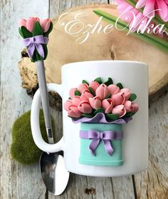 Resultado de imagem para Barbie mug and spoon fimo Polymer Clay Flowers, Fimo Clay, Polymer Clay Projects, Polymer Clay Creations, Polymer Clay Art, Crea Fimo, Clay Cup, Polymer Clay Figures, Play Clay