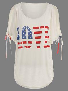 American Flag Print Love Graphic Tee - OFF WHITE 2XL