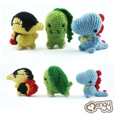 Pokemon Johto Region Starters Amigurumi by mengymenagerie.deviantart.com on @deviantART