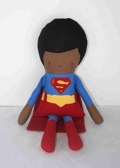 Custom African American Superman, Superhero, Superman, Ethnic Doll, Child Friendly, Nursery Doll, Rag Doll, Handmade Superman Doll, Boy Doll