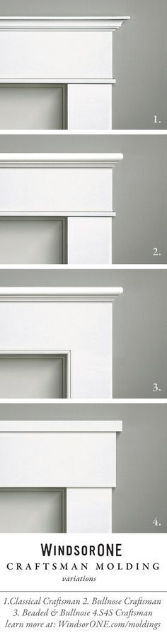 Craftsman Molding variations using WindsorONE Trim Boards and Moldings. Casing with header/frieze buildup. #windsorone #craftsman #moldings #craftsmanship