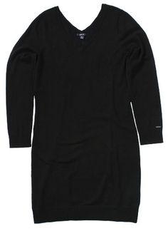 Nautica Women's V-neck Sweater Dress (Black) « Clothing Impulse